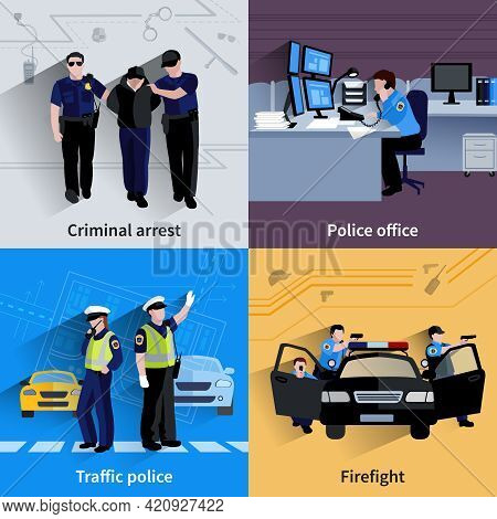 Policeman People 2x2 Design Compositions Of Traffic Police  Criminal Arrest Police Office And Firefi