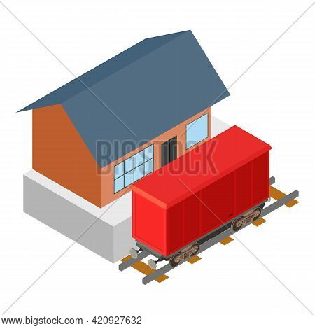 Train Container Icon. Isometric Illustration Of Train Container Vector Icon For Web