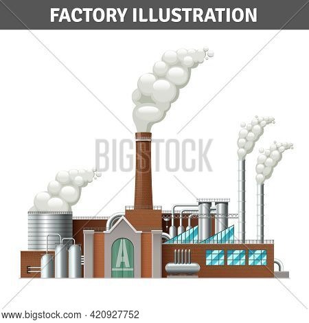 Realistic Factory Building Illustration With Steam And Cooling System Vector Illustration