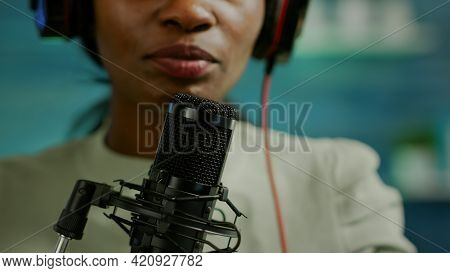 Close Up Of Famous Woman Recording A Vlog For Subscribers Using Podcast Microphone For Vlogging. On-
