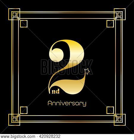 Number Two Logo Design With Square Ornament, Luxury Golden Design, Anniversary Concept, Vector Illus