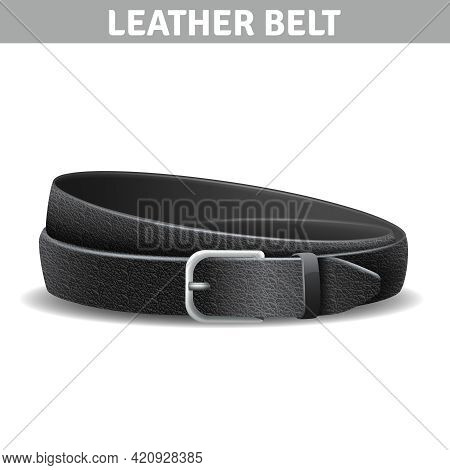 Black Realistic Curled Leather Belt With Metal Buckle Isolated Vector Illustration