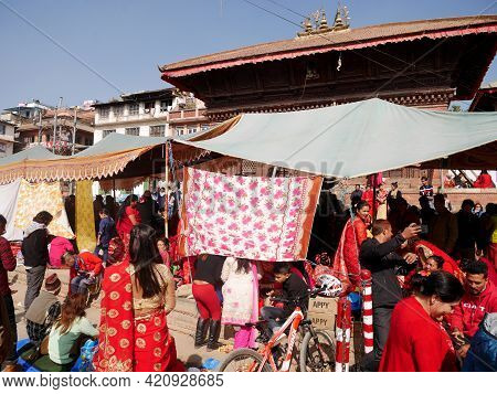 Nepalese Girl And Nepal People Join With Ceremony Ritual Selection Process Kumari Devi Or Living Dur
