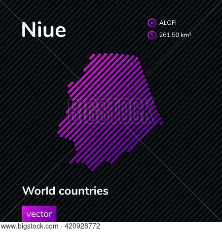 Map Of Niue. Vector Creative Digital Neon Flat Line Art Abstract Simple Map With Violet, Purple, Pin