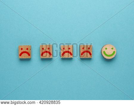 Customer Service Experience And Satisfaction Survey Concept With Facial Expressions Negative And Pos