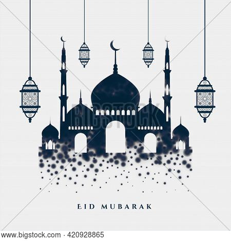 Islamic Eid Mubarak Stylish Greeting With Mosque And Lamps