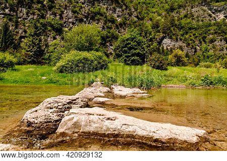 Mountain Scenic In Ledro Lake District In Italy