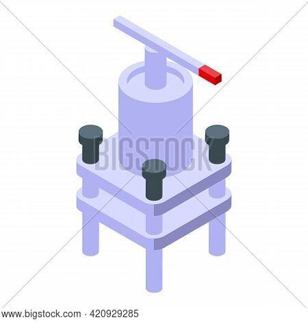Industry Press Machine Icon. Isometric Of Industry Press Machine Vector Icon For Web Design Isolated