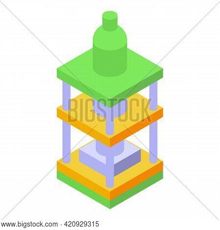 Hydraulic Press Machine Icon. Isometric Of Hydraulic Press Machine Vector Icon For Web Design Isolat