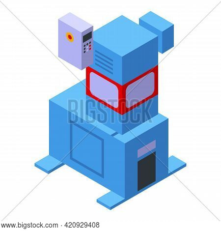Press Machine Conveyor Icon. Isometric Of Press Machine Conveyor Vector Icon For Web Design Isolated