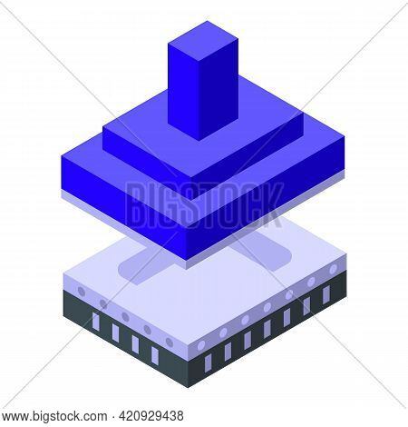 Engineering Press Machine Icon. Isometric Of Engineering Press Machine Vector Icon For Web Design Is