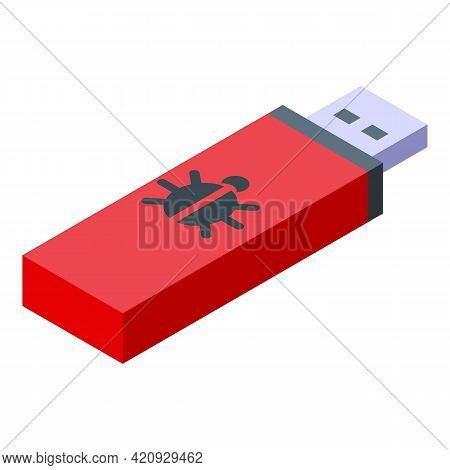 Malware Stick Icon. Isometric Of Malware Stick Vector Icon For Web Design Isolated On White Backgrou