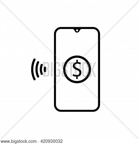 Contactless Nfc Payment Line Icon In Black, Rfid Credit Card, Wireless Pay Simple Illustration. Tren