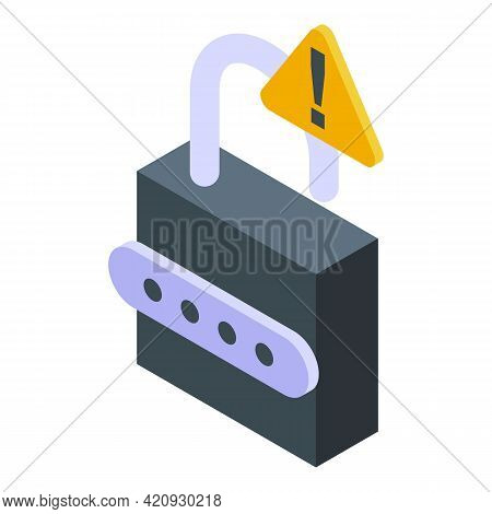Padlock Password Protection Icon. Isometric Of Padlock Password Protection Vector Icon For Web Desig