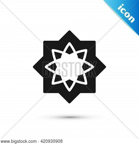 Grey Islamic Octagonal Star Ornament Icon Isolated On White Background. Vector