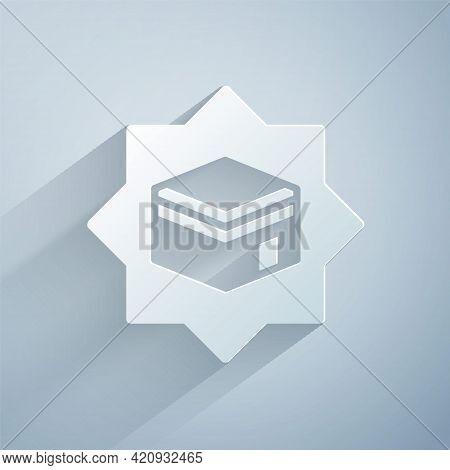 Paper Cut Kaaba Mosque Icon Isolated On Grey Background. Kaaba Hajj Mecca Pray Pilgrimage Ramadan Is