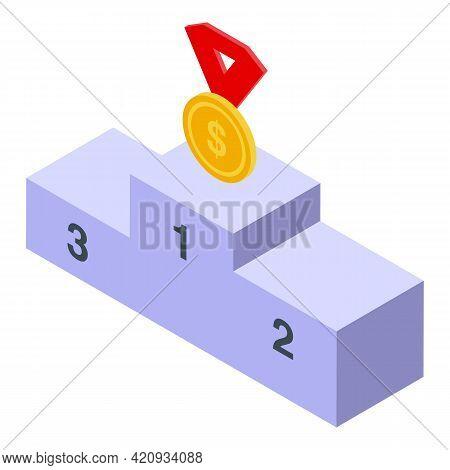 Successful Career Podium Icon. Isometric Of Successful Career Podium Vector Icon For Web Design Isol