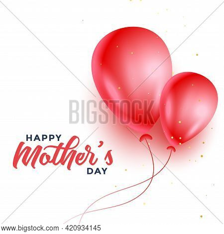 Happy Mothers Day Two Red Balloons Background Design