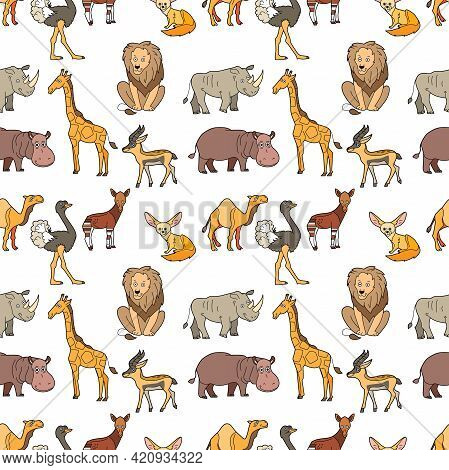 Endless Texture With Cute Funny Animals Living In Africa. Seamless Pattern With Giraffe, Lion And Hi