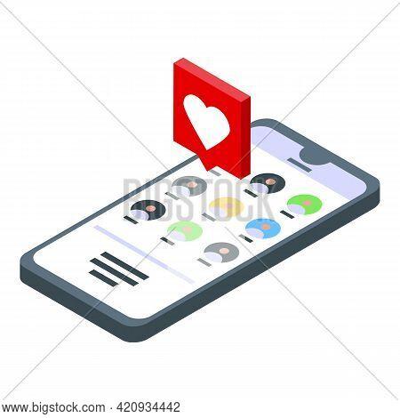 Successful Campaign Phone Like Icon. Isometric Of Successful Campaign Phone Like Vector Icon For Web