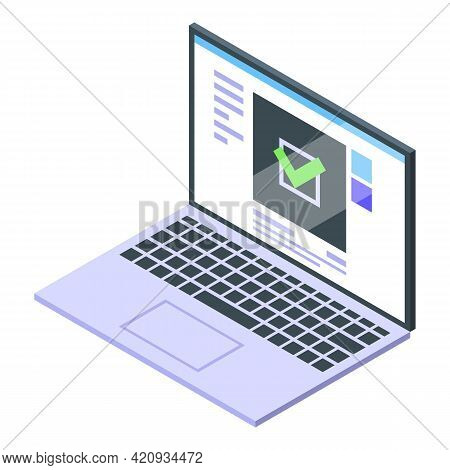 Successful Campaign Laptop Icon. Isometric Of Successful Campaign Laptop Vector Icon For Web Design