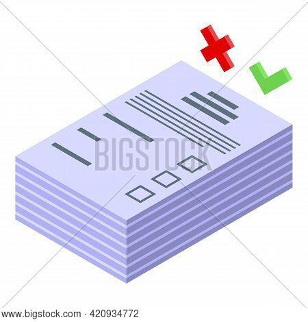 Democracy Ballot Papers Icon. Isometric Of Democracy Ballot Papers Vector Icon For Web Design Isolat