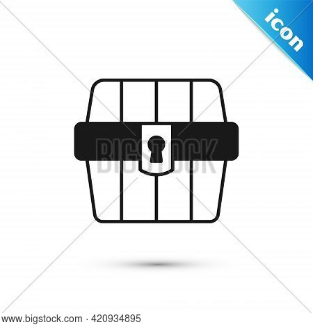 Grey Antique Treasure Chest Icon Isolated On White Background. Vintage Wooden Chest With Golden Coin
