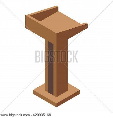 Democracy Speaker Tribune Icon. Isometric Of Democracy Speaker Tribune Vector Icon For Web Design Is