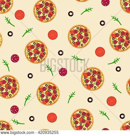Seamless Pattern Vector Drawing Of A Whole Round Pizza With Tomatoes, Pepperoni Sausage, Olives Chee