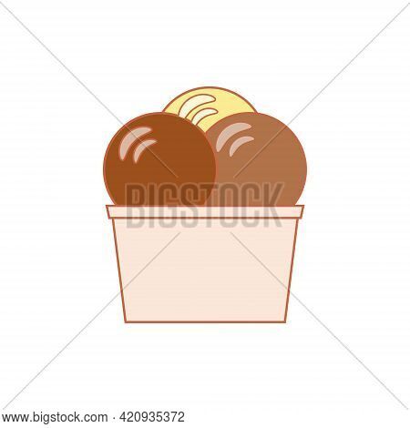 Line Art Vector Illustration Of A Paper Cup With Chocolate, Hazelnut And Vanilla Ice Cream Balls Of