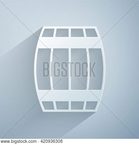 Paper Cut Wooden Barrel Icon Isolated On Grey Background. Alcohol Barrel, Drink Container, Wooden Ke
