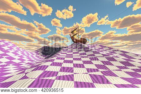 Ancient sailboat shipwrecked in strange land. Surreal checkered desert. 3D rendering