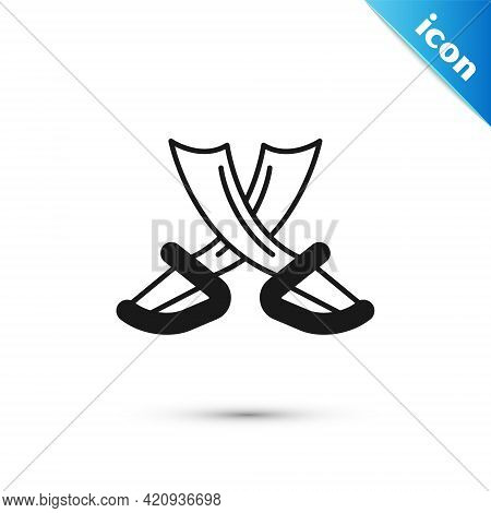 Grey Crossed Pirate Swords Icon Isolated On White Background. Sabre Sign. Vector