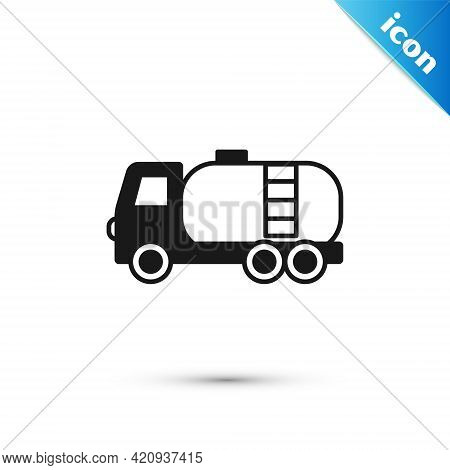 Grey Tanker Truck Icon Isolated On White Background. Petroleum Tanker, Petrol Truck, Cistern, Oil Tr