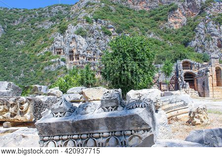 Ancient Tombs By Lycians In Fethiye, Archeology And Travel Concept