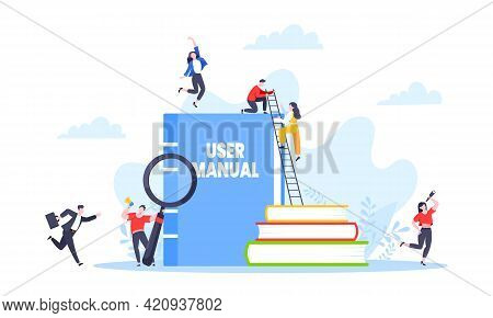 User Manual Guide Book Flat Style Design Vector Illustration. Tiny People, Magnifying Glass And Guid