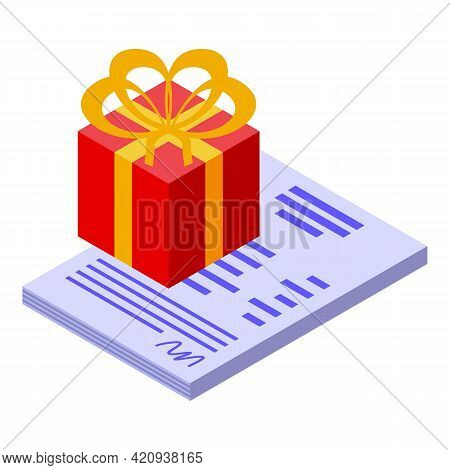 Car Buying Gift Icon. Isometric Of Car Buying Gift Vector Icon For Web Design Isolated On White Back