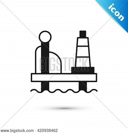 Grey Oil Platform In The Sea Icon Isolated On White Background. Drilling Rig At Sea. Oil Platform, G