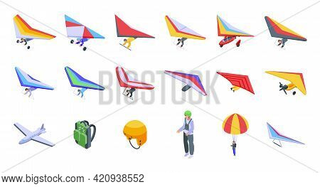 Hang Glider Icons Set. Isometric Set Of Hang Glider Vector Icons For Web Design Isolated On White Ba