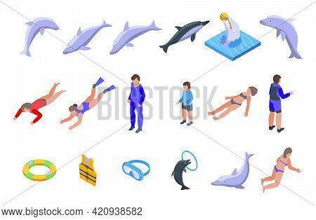 Swim With Dolphins Icons Set. Isometric Set Of Swim With Dolphins Vector Icons For Web Design Isolat