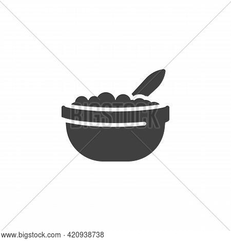 Cottage Cheese Vector Icon. Filled Flat Sign For Mobile Concept And Web Design. Bowl With Cottage Ch