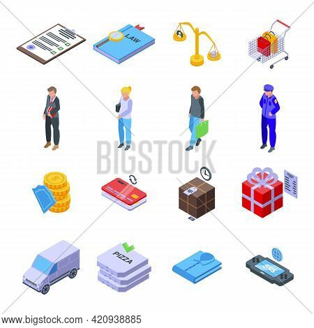 Consumer Rights Icons Set. Isometric Set Of Consumer Rights Vector Icons For Web Design Isolated On