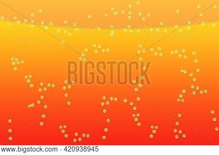 Texture Liquid With Bubbles. Orange Carbonated Drink Pattern. Water, Beverage, Juice, Lemonade Or So