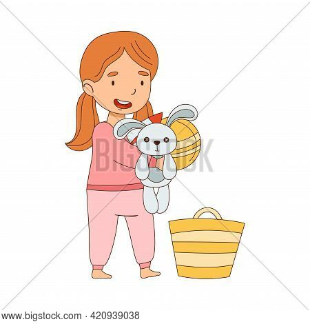 Cute Girl Picking Up Toys In Basket Getting Ready To Bedtime Vector Illustration