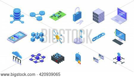 Block Chain Icons Set. Isometric Set Of Block Chain Vector Icons For Web Design Isolated On White Ba