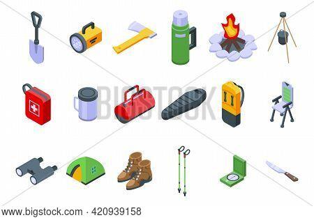 Equipment For Hike Icons Set. Isometric Set Of Equipment For Hike Vector Icons For Web Design Isolat