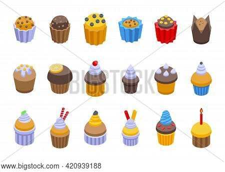 Muffin Icons Set. Isometric Set Of Muffin Vector Icons For Web Design Isolated On White Background