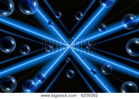 Bubbles with Blue and White Star Design Against Black Background poster