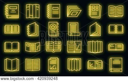 Catalogue Icons Set. Outline Set Of Catalogue Vector Icons Neon Color On Black