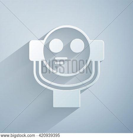Paper Cut Tourist Binoculars Icon Isolated On Grey Background. Binoculars Telescope On The Observati